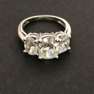 Jewelry - Sterling Silver Cocktail Ring w/Large CZ Stone
